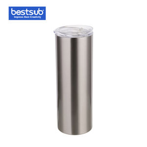20oz 600ml Heat Press Sublimation Blanks Double Wall Vacuum Stainless Steel Skinny Tumbler with Straw Lid Silver Bottle Mugs