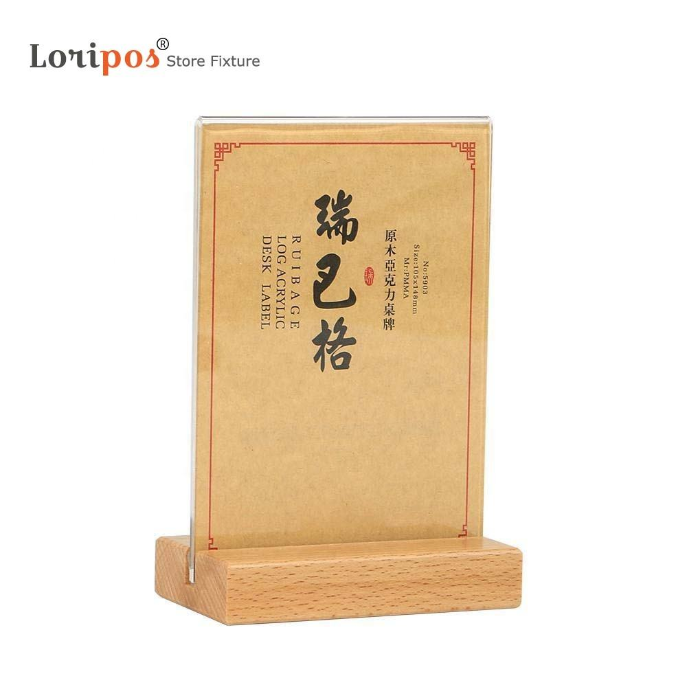 A4 Acrylic Poster Frame T Shape Acrylic Table Menu Holder Information Paper Literature Display Price Flyer Wooden Poster Frame