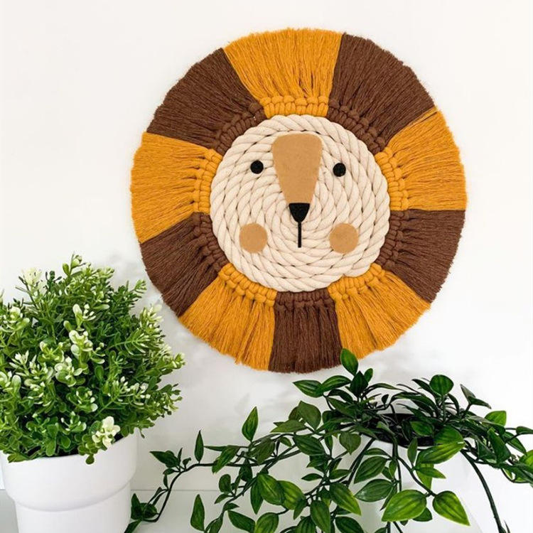 7 colors ins lion shape handmade cotton macrame lion wall hanging decoration