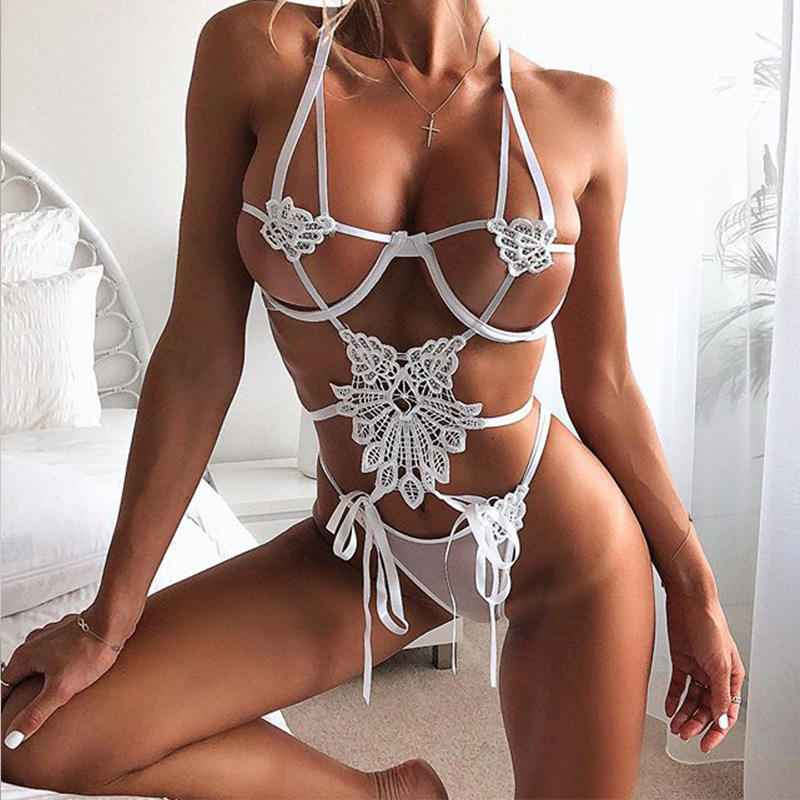 Deep-V One-Piece Mulheres Hot Transparente Sexy Teddy Lingeries