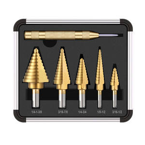 6 pcs HSS Titanium Coated Step Drill Set Center Punch Drills Porous Reinforcement Drill for Sheet Metal with Aluminum Case