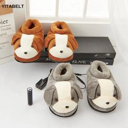 Foot Warmers Heat Cute Dog Slippers USB Charging Electric Pl