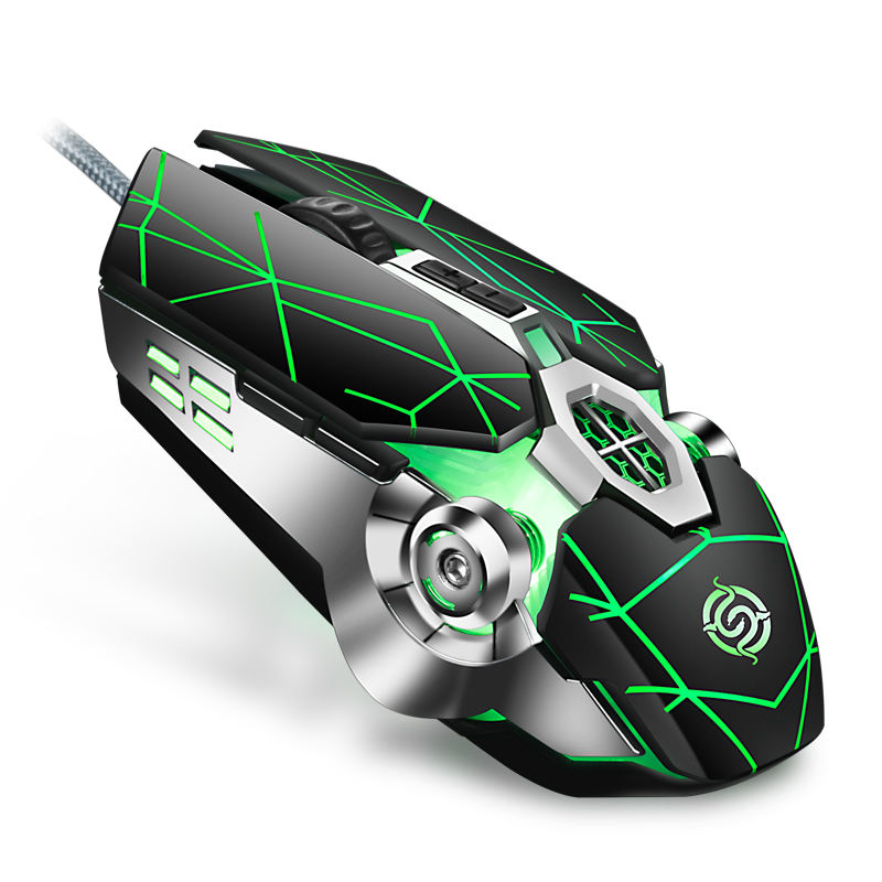 K-Snake Q7 Mouse Game Wired 7 Color Illuminated USB 4000 DPI Mechanical Gaming RGBグローイングMouseコンピュータ