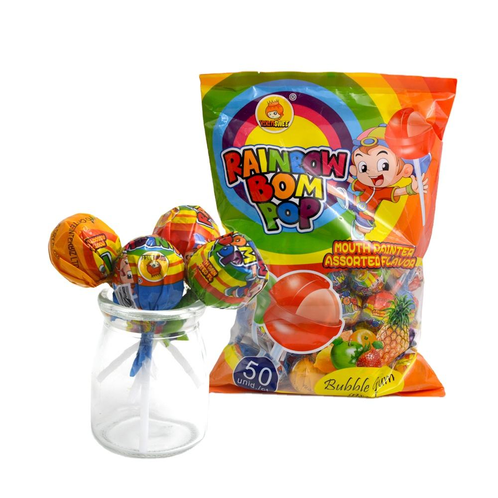 halal rainbow lollipop made in China factory direct sale for kids