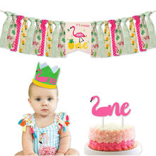 Pafu Baby Shower Flamingo Pineapple First Birthday Party Supplies Highchair Banner and One Cake Topper 1st Birthday Decoration