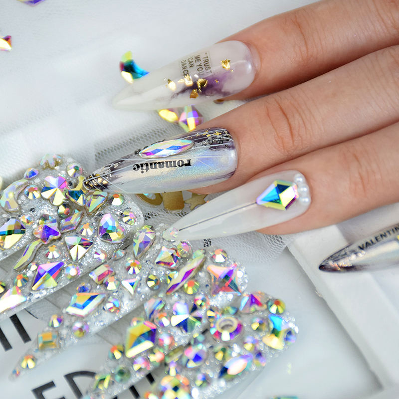 High quality wholesale 3d flat back luminous ab white crystal stones mix sizes gems charms nail art rhinestones for designs