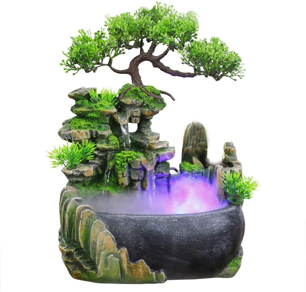 Flowing Water Waterfall Fountain Home Office Tabletop Ornament with Color Changing Light Spray
