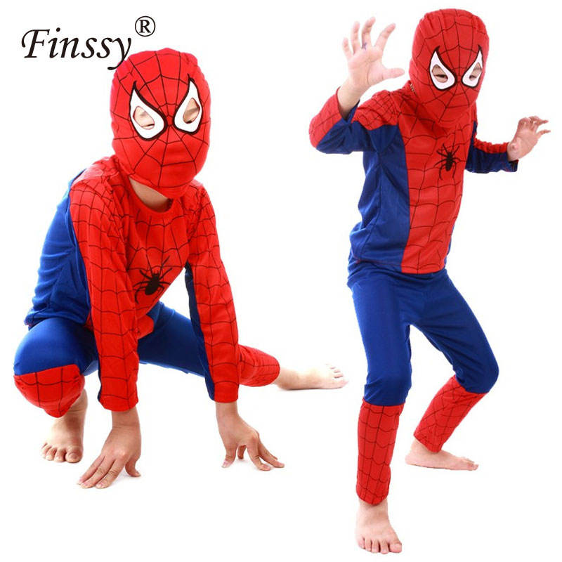 Hero Red Spiderman Costume Boys Cosplay Black Spider Man Halloween