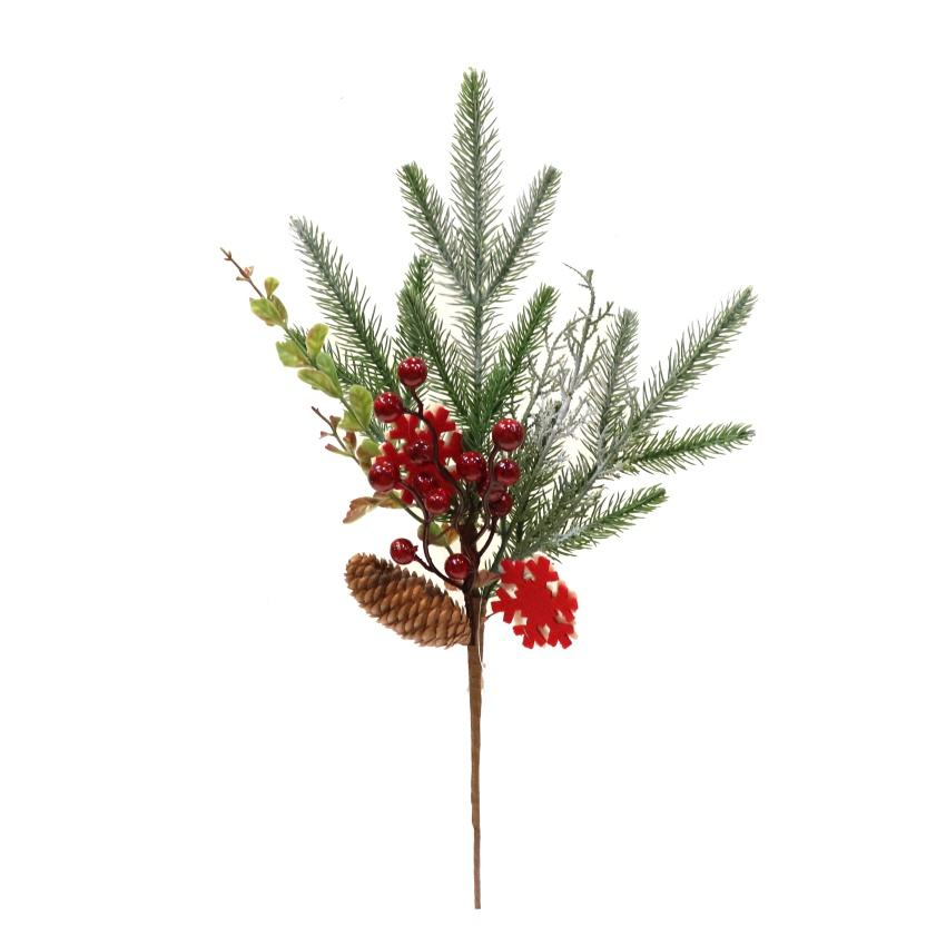 New Arrival Christmas Pick with snow and pinecone for Christmas pick decor