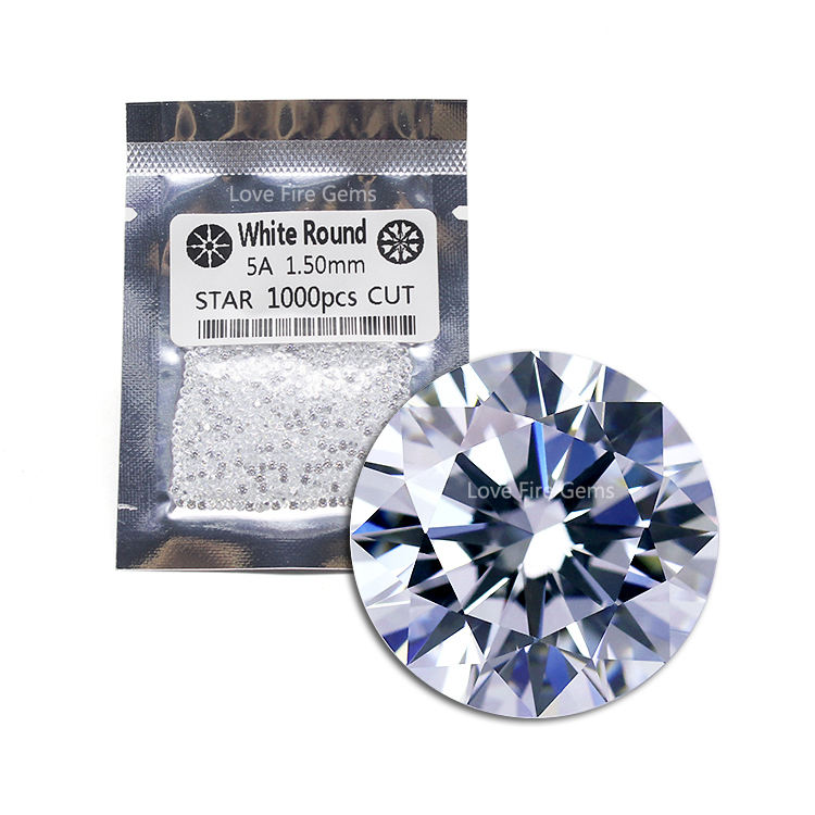 machine cut 1.5mm 5A grade white round star cut wuzhou gems cz stone loose cubic zirconia stones for jewelry