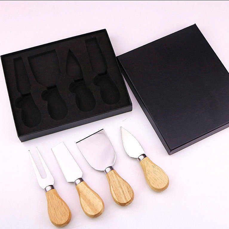 Stock selling factory directly 4 Pieces cheese knife set - Stainless Steel Cheese Slicer with Wood Handle Cheese Cutter