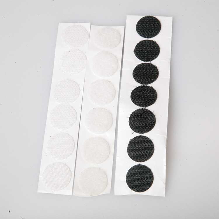 Self Adhesive Nylon Sticky Back Coins Dot Reusable Die Cut Round Hook And Loop Dots