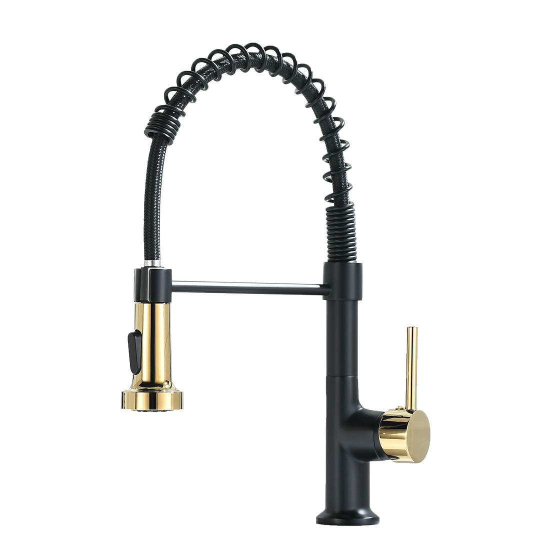 FLG:BG1135 Commercial Black and Gold Combination One Hole Water Saving Single Handle Pull Out Spray Kitchen Faucet