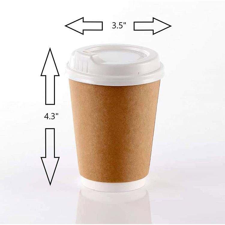 One-Stop Service Customized Printing 8Oz 12Oz Disposable Double Wall Coffee Paper Cup With Lid
