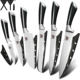 XYj Knife Yangjiang 6 Pieces 3Cr13 Stainless Steel Knife Set Japanese Kitchen Knife Set With Black Handle