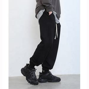 OEM wholesale Men's Sport Cotton custom casual pants VELVET joggers printed logo stacked sweat pants