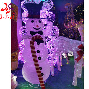 High quality hot selling outdoor festival decorations cloth tinsel led light up Christmas snowman motif light