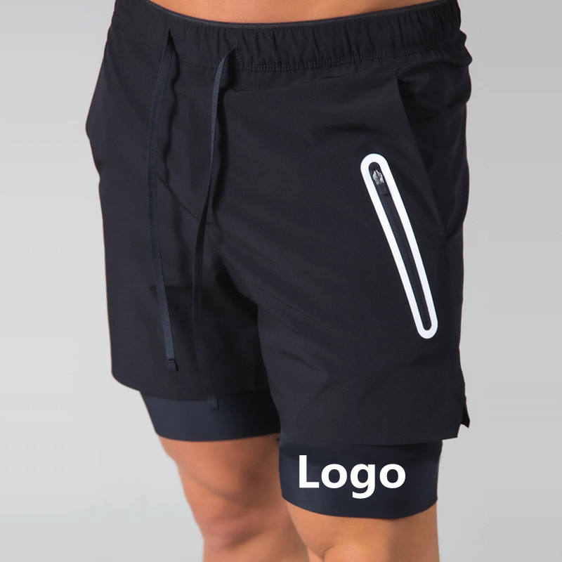 Double layer Jogger Men 2 in 1 Short Pants Gyms Fitness Built-in pocket Bermuda Beach Shorts Male Sweatpants