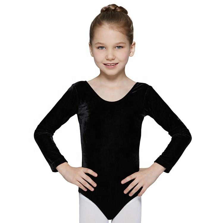 Wholesale Training Dancewear Gymnatic Girls Black Velvet Ballet Leotards Long Sleeve Ballet Leotards Ballet