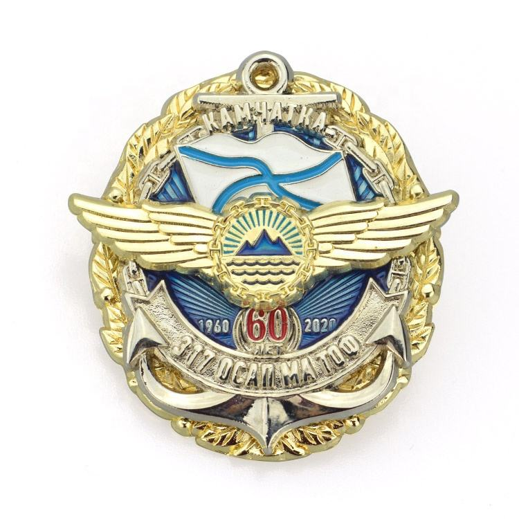 Metal Badge Factory Maker Custom Made 3 Emblem Layer Plating Gold And Silver3D Logo Enamel Metal Badges