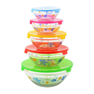 Cheap Glass Bowl Set With PP Lids Glass Salad Bowl for Promotion