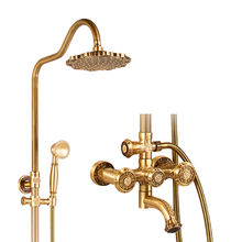 Bathroom thermostatic rain shower faucet set washroom shower bath gold set