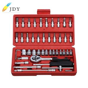 46pcs in one set machine auto repair tools combination set impact socket wrench spanner 1/4 Drive bit set Ratchet Wrench