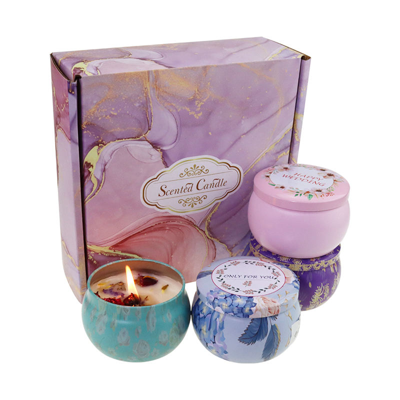 Home Decor 100% Natural Soy Wax Scented Tin Candle Gift Set Fragrance Aroma Aromatherapy Candle With Dry Flower