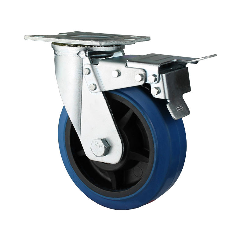 Popular Heavy Duty 6 Inch Blue Rubber Caster Wheel With Brake
