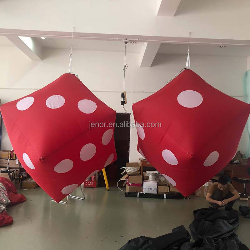 Red advertising inflatable cube dice balloon with light