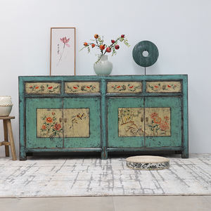 Antique Chinese Hand Painted Sideboard Living Room Furniture