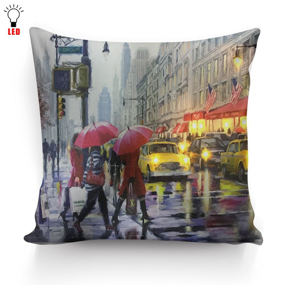 Pillows Decorative new york street design Throw Pillow Case Cover Home Decoration cushion cover For holiday light up amazon