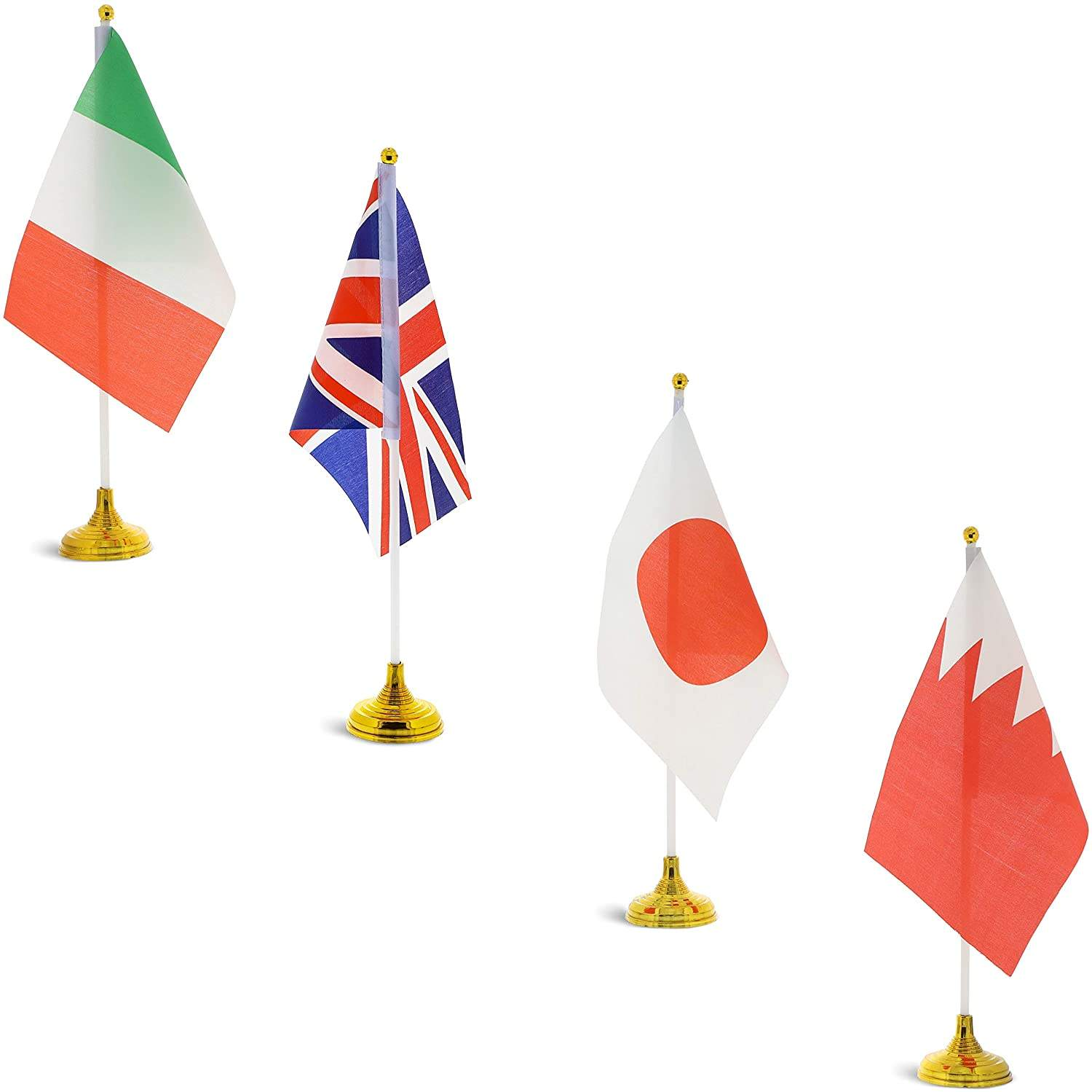 International World Country Desk Flags with Stands 8.3 x 5.5 Polyester Falg