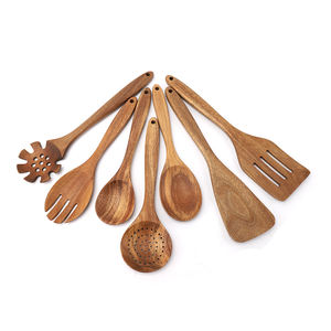 Amazon Top Seller 7 pcs Wooden Kitchen Utensil Set Slotted Pasta Soup Ladle Flat Spoon Turner Cooking Kitchen ware Utensils