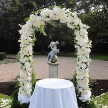 OurWarm Flower Backdrop Garden Party Floral Decor Easily Assembled White Round Metal Arch for Wedding Decoration