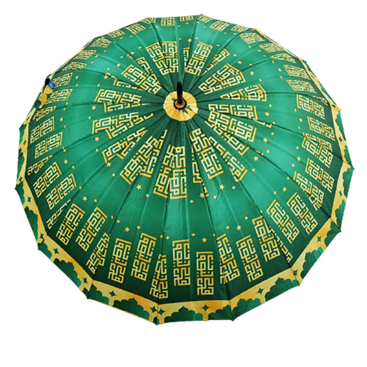 Custom Design Full Print Automatic Straight Muslim Satin Umbrella With Golden Hook Handle