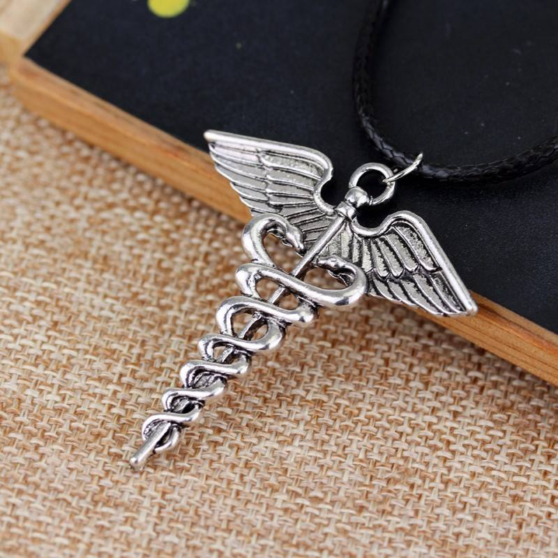 Silver Medical Caduceus Necklace Pendant Caduceus Necklace For Nurse And Doctors Gifts