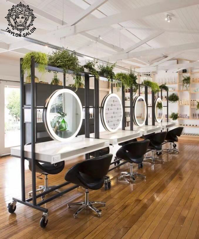 Beauty hair salon furniture makeup mirrors stations barber mirror station with LED light