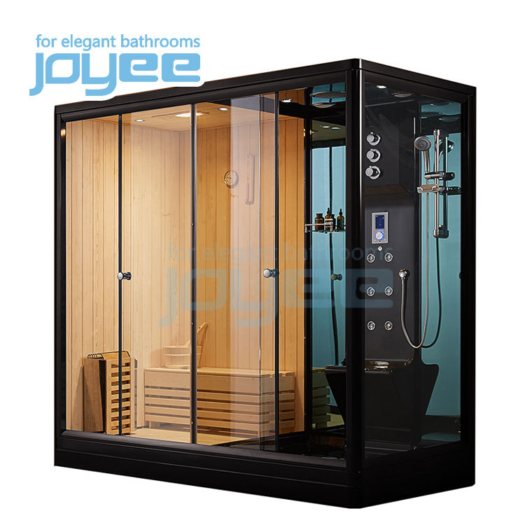 JOYEE indoor steam sauna dry sauna and wet steam combination sauna steam shower combo cabin for 2 person