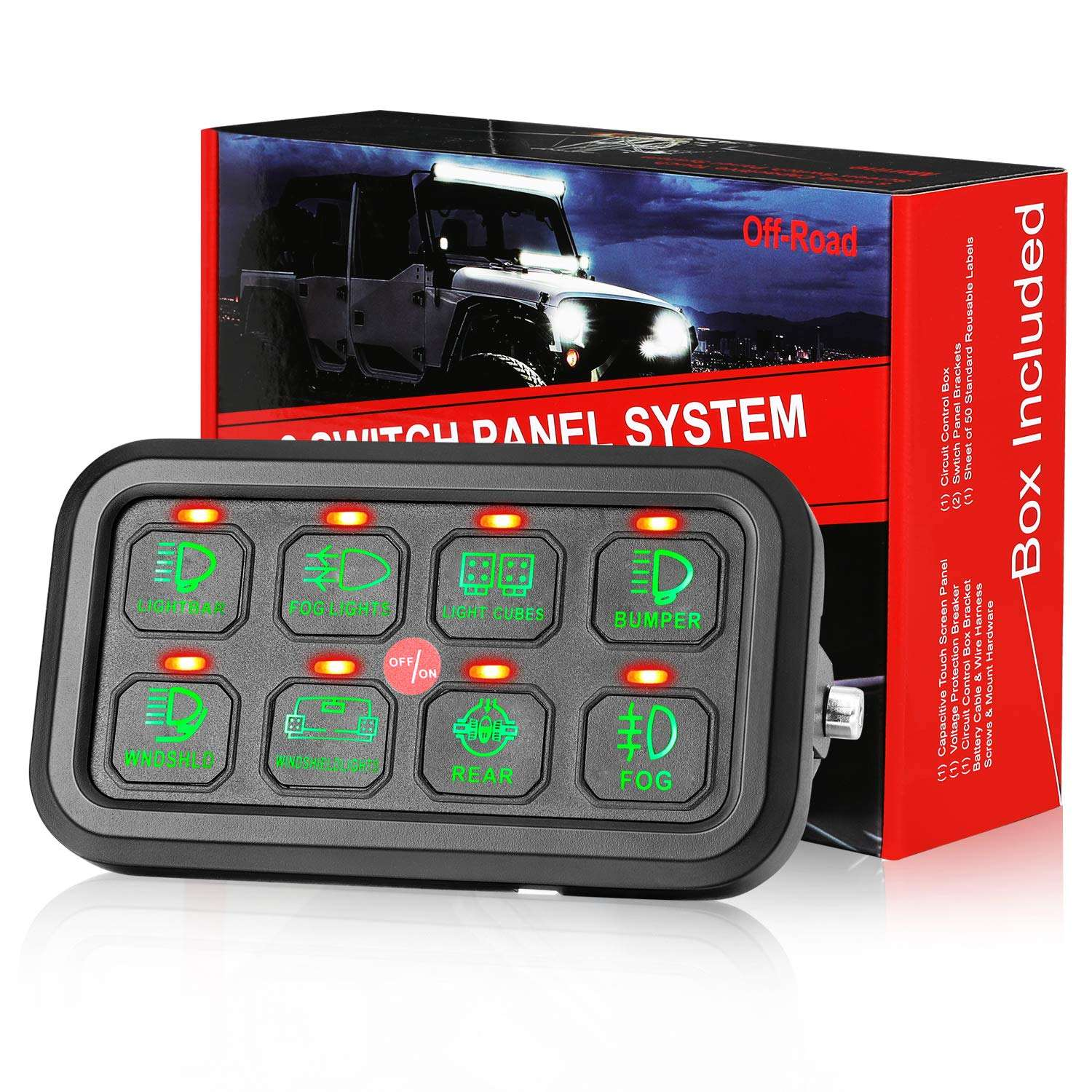 8 Gang LED Car Switch Panel Circuit Control Relay System Box Universal Slim Touch Panel for Truck ATV UTV Caravan Marine