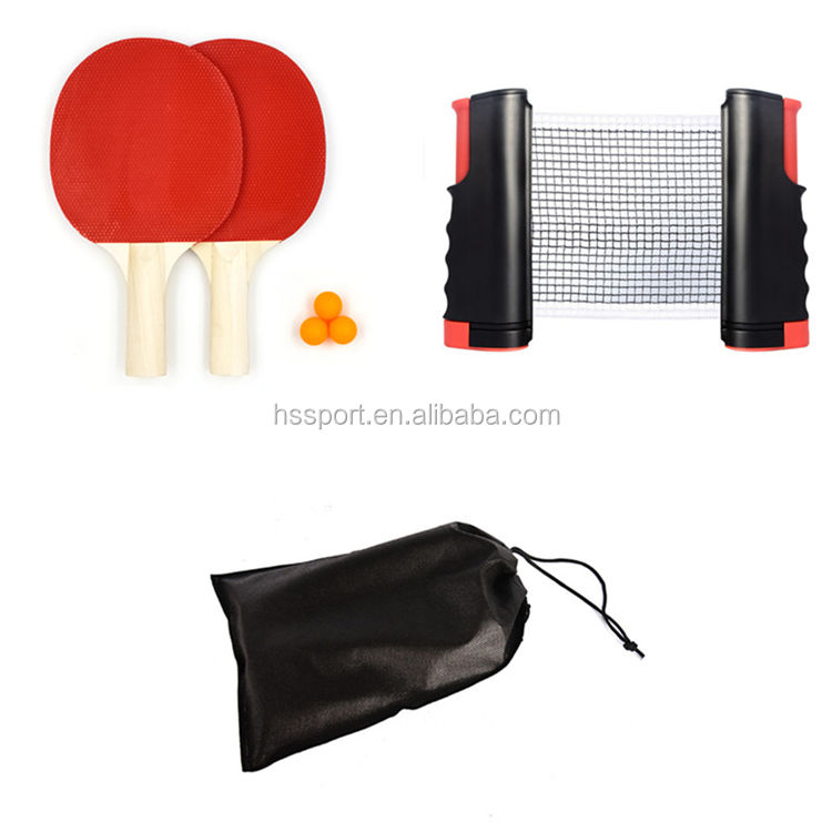 Cheap Ping Pong paddle Set with retractable table tennis net +2 rackets + 3 Balls,customization Table Tennis Racket suit