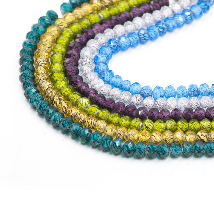 Wholesale 12mm colorful flat glass crystal beads with lace inside