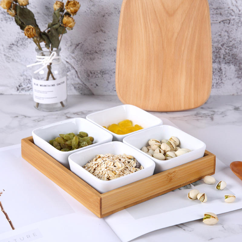Eco-friendly New Year Home Used Decorative Ceramic Dry Fruit Snack Tray Set With Bamboo wood Lid and Bamboo Tray