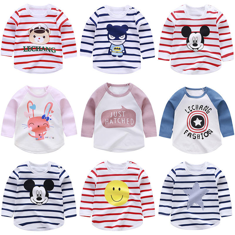 100% cotton long-sleeved shirt baby T-shirt kids clothing Wholesale clothes Boys and girls coat