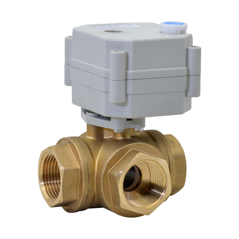 3 Way 3/4 inch electric control brass ball valve 3 port diverter lead free valve with manual handle (T20-B3-B)
