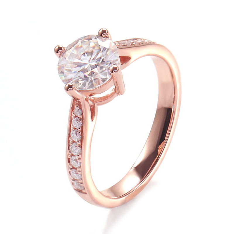 Forever love 1 carat weight CVD lab diamond engagement ring 14k rose gold/white gold jewelry