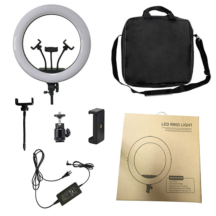 18 inch LED Ring Light 70W Bi-color Dimmable Photo Studio Video Film Makeup Photographic Lighting Lamp with 2meters tripod