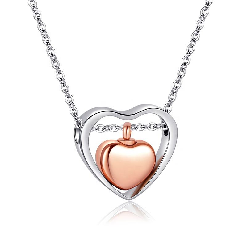 Custom Gepersonaliseerde Graveren Altijd In Mijn Hart Dual Hart Rvs As Urn Harten Charm Rose Gold Keepsake <span class=keywords><strong>Ketting</strong></span>