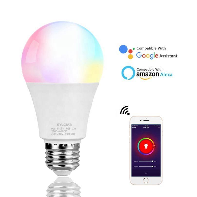 Горячая продажа 9 Вт A60/A19 затемнения RGB умная wifi лампа Wi-Fi светодиодные лампы оптом для дома моды