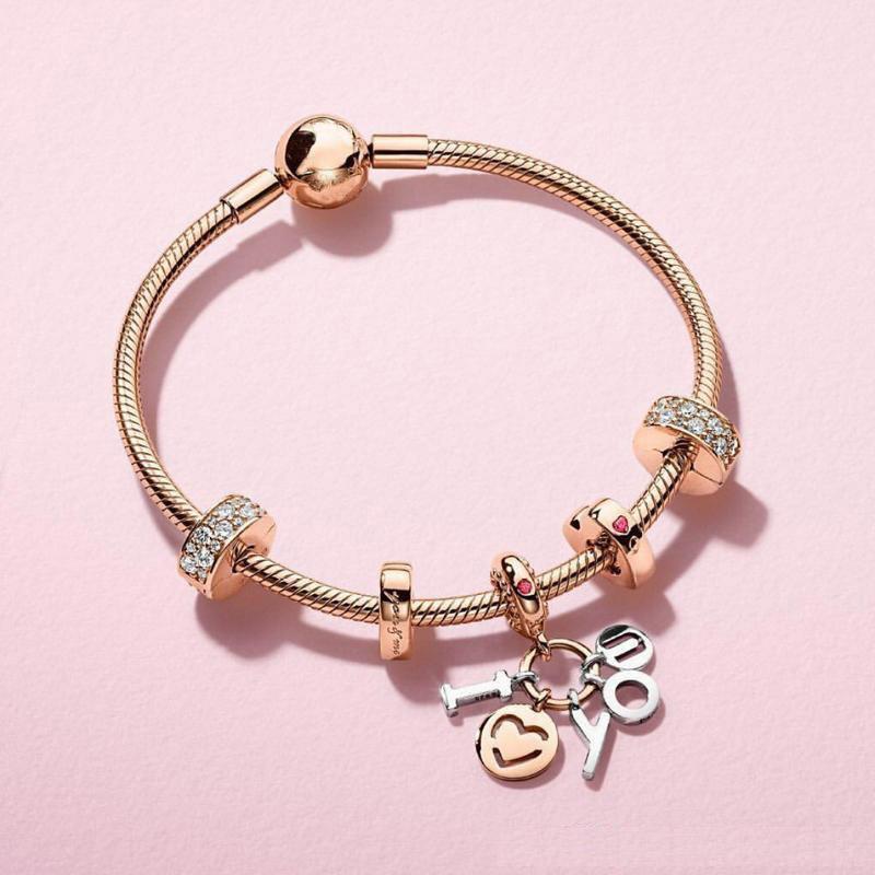 Fashion rose gold charms fit pandoras bracelets wholesale handmade charms fit pandoras snake chain bracelets